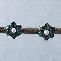 Chrysocolla flower stud earrings,
