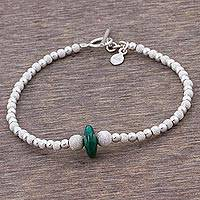 Chrysocolla beaded pendant bracelet, 'Green Ellipse' - Chrysocolla and Sterling Silver Artisan Crafted Bracelet
