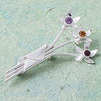 Multi-gemstone brooch pendant,