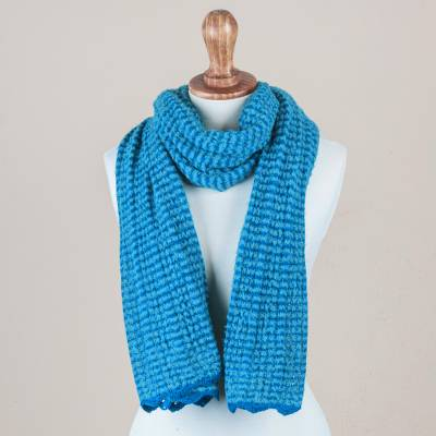 Baby alpaca blend scarf, 'Teal Connection' - Peru Boucle Scarf Knitted in Teal & Turquoise Alpaca Blend