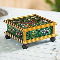 Reverse painted glass decorative box, 'Teal Winter Butterflies' - Reverse Painted Glass Teal Box with Multicolor Butterflies