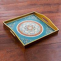 Reverse painted glass tray, 'Floral Tea' - Reverse Painted Glass Tray with Floral Motifs in Teal