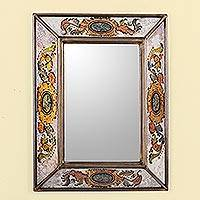 Reverse painted glass wall mirror, 'Floral Medallions' - Reverse Painted Glass Rectangular Floral Wall Mirror