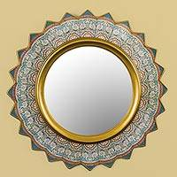 Reverse painted glass wall mirror, 'Polar Star' - Reverse Painted Round Glass Wall Mirror from Peru