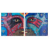 'Tukuyrikuy II' (diptych) - Signed Art Diptych Paintings of a Colorful Face from Peru