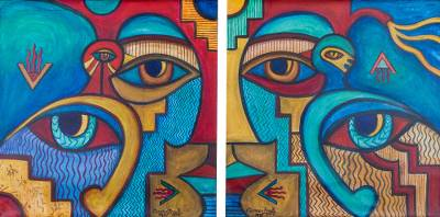 'Tukuyrikuy I' (diptych) - Signed Art Diptych Paintings of Colorful Faces from Peru