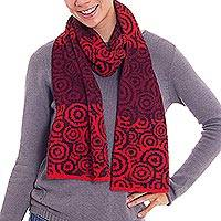 100% alpaca scarf, 'Melody of Espresso and Wine' - 100% Alpaca Scarf Patterned in Wine Strawberry and Espresso