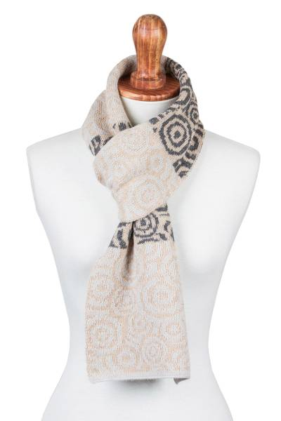 100% alpaca scarf, 'Melody of Almond and Grey' - 100% Alpaca Scarf with Almond Beige and Grey Patterns