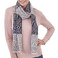 100% alpaca scarf, 'Melody of Alabaster and Grey' - Patterned Alabaster Titanium and Grey 100% Alpaca Scarf