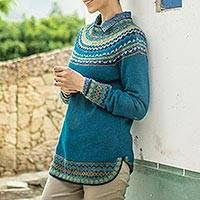 Art knit alpaca sweater, 'Playful Teal' - Teal & Blue 100% Alpaca Pullover Patterned Peruvian Sweater