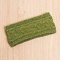 Alpaca blend ear warmer, 'Light Olive Paradise' - Soft Alpaca Blend Ear Warmer in Light Olive and Gold