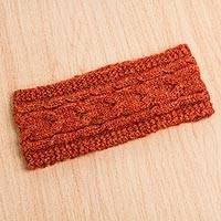 Alpaca blend ear warmer, 'Orange Paradise' - Trendy Alpaca Blend Orange Ear Warmer Knitted in Peru