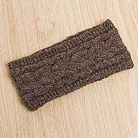 Alpaca blend ear warmer, 'Earthy Paradise' - Peruvian Alpaca Blend Ear Warmer in Pearl Grey and Tan