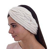 Alpaca blend ear warmer, 'Infinite Spirit' - Alpaca Blend Ear Warmer in Antique White Knitted in Peru