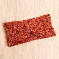 Alpaca blend ear warmer, 'Infinite Spirit in Flame' - Alpaca and Wool Blend Ear Warmer in Crimson and Orange