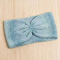 Alpaca blend ear warmer, 'Morpheus Dreams in Celadon' - Peruvian Soft Alpaca Blend Ear Warmer in Celadon Color