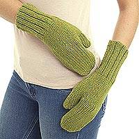 Alpaca blend mittens, 'Andean Dreams in Light Olive' - Light Olive and Gold Mitten Gloves Knitted of Alpaca Blend
