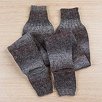 Alpaca blend leg warmers, 'Mountain Traveler in Grey' - Grey and Brown Striped Alpaca and Wool Blend Leg Warmers