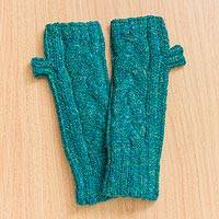 Alpaca blend fingerless gloves, 'Braided Paths in Teal' - Warm Alpaca Blend Teal Fingerless Gloves from Peru