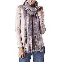 100% baby alpaca scarf, 'Andean Scent in Pastel Pink' - 100% Alpaca Knit Scarf in Smoke and Pastel Pink from Peru