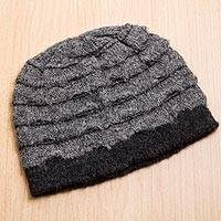 Alpaca blend hat, 'Andean Winter in Smoke' - Peruvian Alpaca Wool Blend Beanie Hat in Charcoal and Smoke