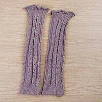 100% alpaca leg warmers, 'Soft Rose' - Dusty Rose 100% Alpaca Knitted Leg Warmers from Peru