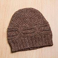 Alpaca blend hat, 'Cocoa Textures' - Cocoa Brown Unisex Patterned Alpaca Wool Blend Beanie Hat