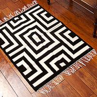 Wool area rug, 'Perfect Symmetry' (3x4) - 3x4 Peruvian Wool Area Rug in Black and Antique White