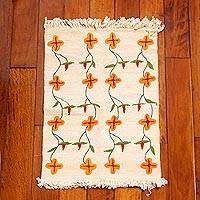 Wool area rug, 'Floral Homestead' (2x3) - Hand Woven Floral Peruvian Wool 2x3 Area Rug in Ecru