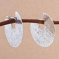 Sterling silver hoop earrings, 'Modern Rites' - Sterling Silver Modern Hoop Earrings from Peru