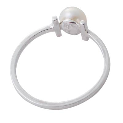 Cultured pearl cocktail ring, 'Innocent Attraction' - Cultured Pearl and Silver Modern Cocktail Ring from Peru