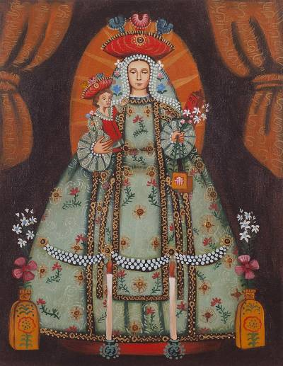 'Our Lady of Mercy' (15 inches) - Catholic Replica Cuzco Oil Painting  (15 Inches)