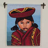 Wool tapestry, 'Girl from Cuzco' - Wool tapestry