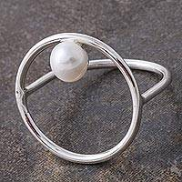 Cultured pearl cocktail ring, 'Outer Reaches' - Cultured Pearl and Silver Circular Cocktail Ring from Peru