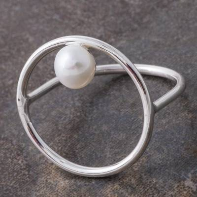 cz bezel necklace - Cultured Pearl and Silver Circular Cocktail Ring from Peru