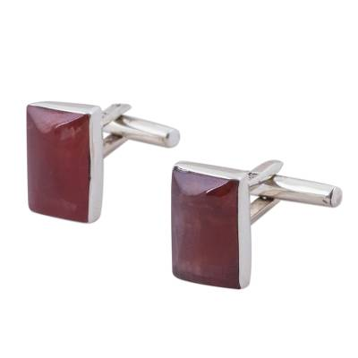 Rhodochrosite and Sterling Silver Cufflinks from Peru