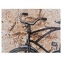 'Lost in Time' - Signed Painting of a Rustic Bicycle in Sepia Brown from Peru