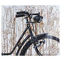 'Black Avenue' - Signed Realist Painting of a Rustic Bicycle in Black