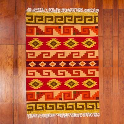 Wool area rug, 'Andean Puzzle' (4x5.5) - Handwoven 4x5 Wool Area Rug with Geometric Motifs from Peru