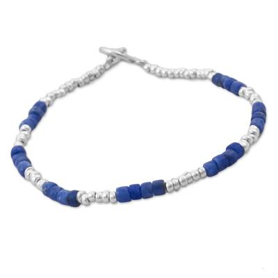 Hand Crafted Sodalite and Sterling Silver Bracelet from Peru