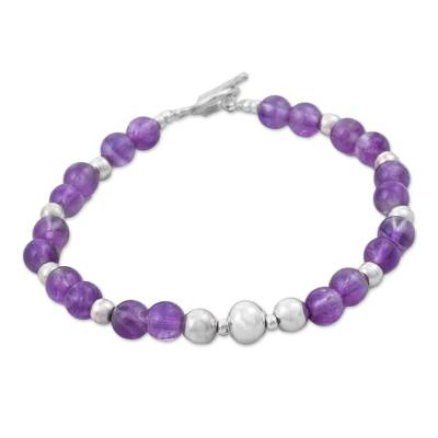 Handcrafted Amethyst and Sterling Silver Bracelet from Peru