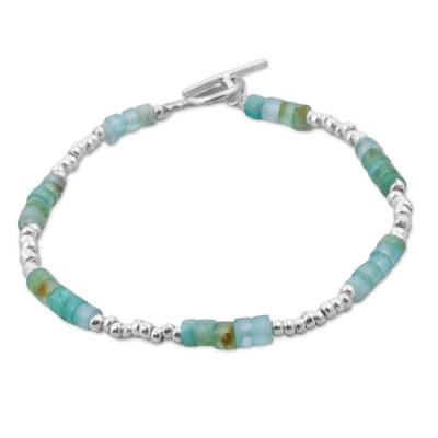 Opal and Sterling Silver Beaded Bracelet from Peru