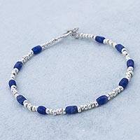 Sodalite beaded bracelet, 'Loving Blue' - Blue Sodalite and Sterling Silver Beaded Bracelet from Peru