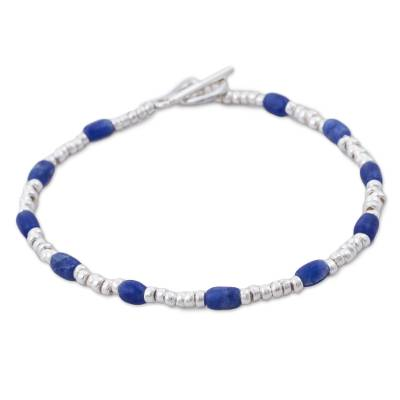 Blue Sodalite and Sterling Silver Beaded Bracelet from Peru