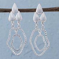 Sterling silver dangle earrings, 'Lake Droplets' - Sterling Silver Abstract Dangle Earrings from Peru