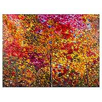 'The Happiness of Life' - Multicolored Impressionist Painting of Trees from Peru
