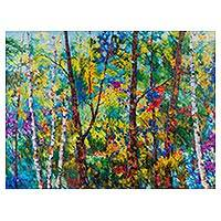 'Amazonian Exuberance' - Signed Art Peruvian Impressionist Painting of Colorful Trees