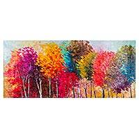 'Forest of Illusion' - Signed Impressionist Painting of Rainbow Trees from Peru