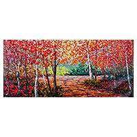 'The Walk of Life' (2016) - Signed Impressionist Painting of Colorful Forest from Peru