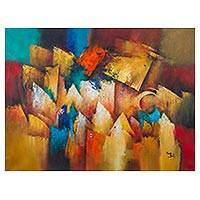 'Intervals' - Multicolored Signed Cubist Painting by a Peruvian Artist